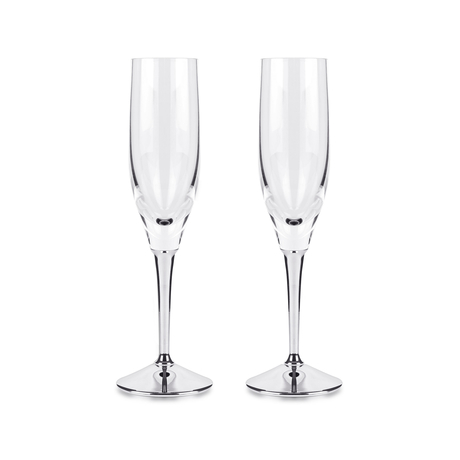 Silver Plate and Crystal Pair of Champagne Flutes
