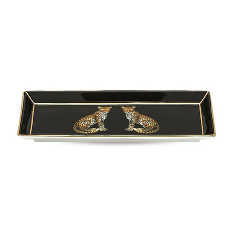 Twin Leopard Rectangular Tray Black