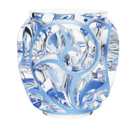 Lalique Tourbillons Blue Vase