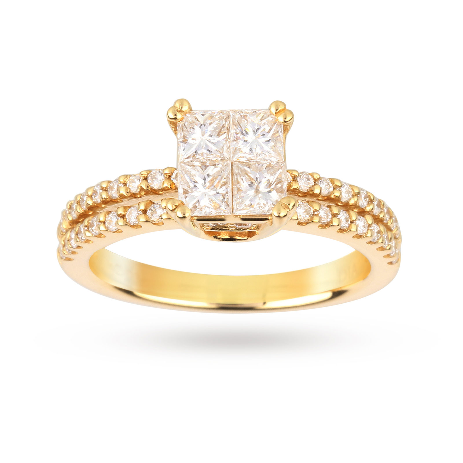 18 Carat Yellow Gold 0.79 Total Carat Weight Diamond Ring