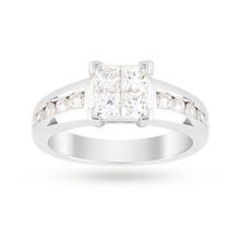 Platinum 0.75 Total Carat Weight Invisible Set Ring with Diamond Set shoulders