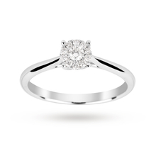 Brilliant cut 0.15 carat solitaire diamond ring in 9 carat white gold