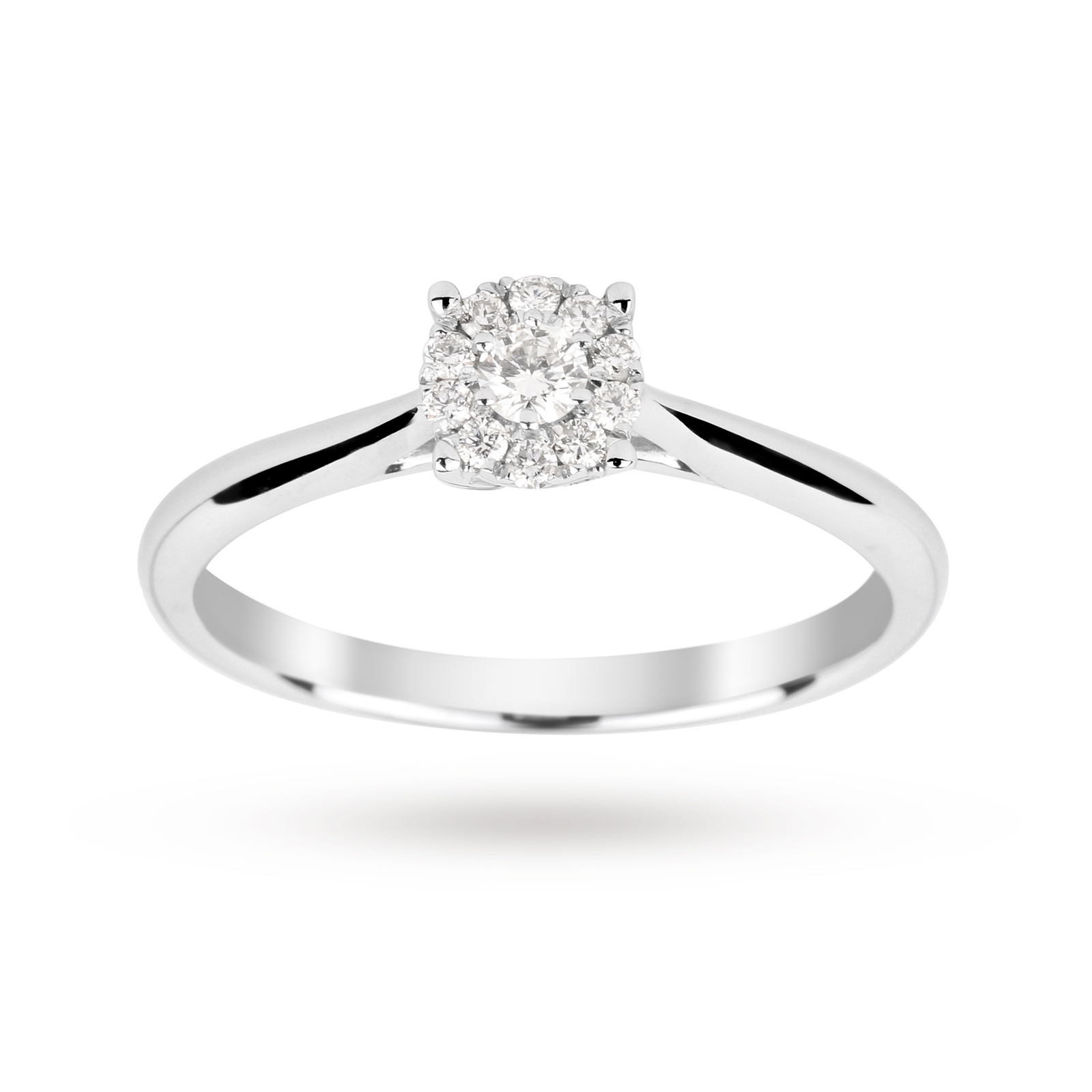 Brilliant Cut 015 Carat Solitaire Diamond Ring In 9 White Gold