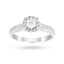 Brilliant cut 0.48 total carat weight cluster and diamond set shoulders ring set in 9 carat white gold