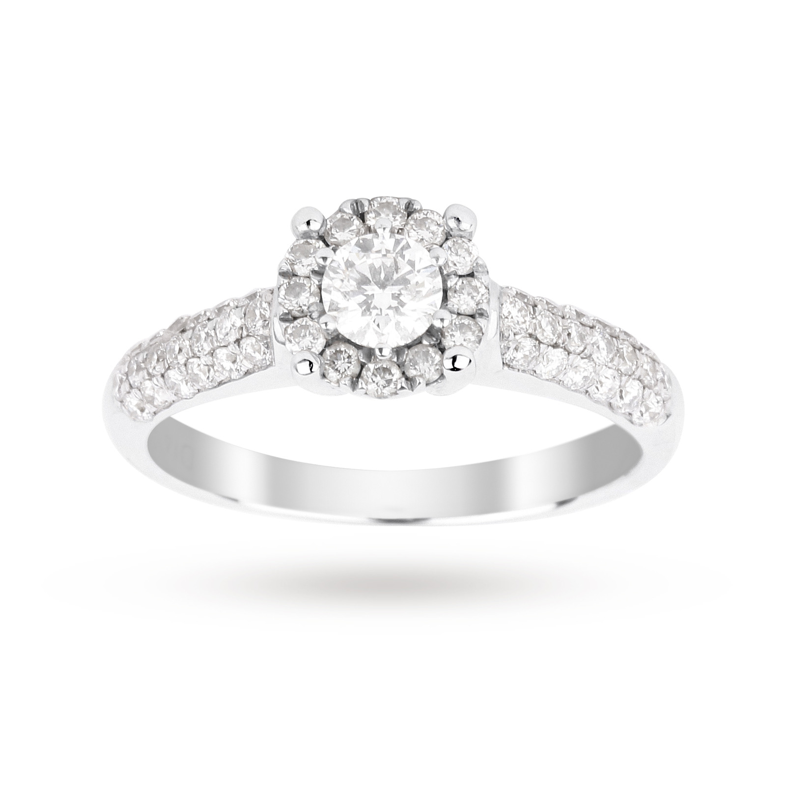 Brilliant cut 0.48 total carat weight cluster and diamond set shoulders ring set in 9 carat white go
