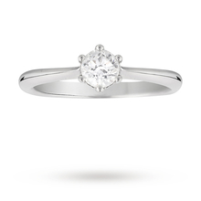 Brilliant cut 0.40 carat diamond solitaire ring in 18 carat white gold