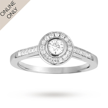Brilliant cut 0.33 total carat weight diamond halo ring with diamond set shoulders in 18 carat white gold