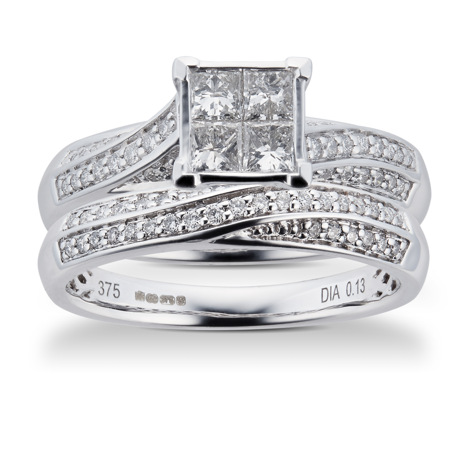 Princess and Brilliant Cut 0.76 Carat Total Weight Diamond Bridal Set in 9 Carat White Gold  Ring Size K