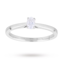 Oval Cut 0.25 Carat Diamond Solitaire Ring in 18 Carat White Gold