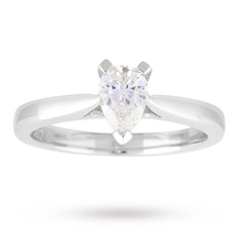 Pear Cut 0.50 Carat Diamond Solitaire Ring in 18 Carat White Gold