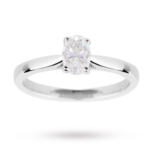 Oval Cut 0.50 Carat Diamond Solitaire Ring in 18 Carat White Gold