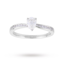 Pear Cut 0.65 Carat Total Weight Solitaire with Diamond Set Shoulders in 18 Carat White Gold