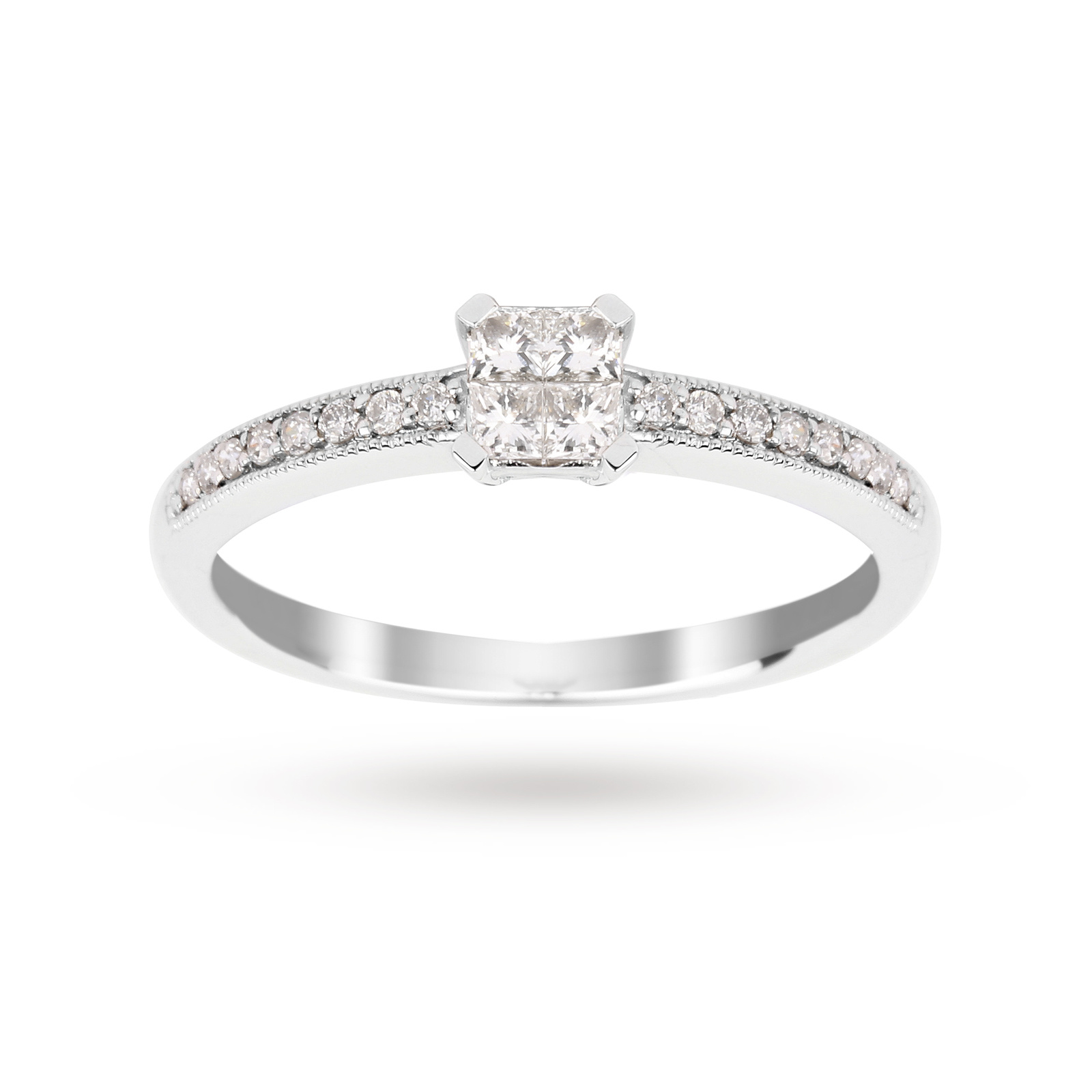 Princess Cut 0.30 Carat Total Weight Diamond Cluster Ring with Diamond Set Shoulders in 9 Carat Whit