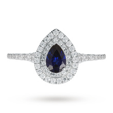 Canadian Ice Collection Pear Cut Sapphire and Diamond Set Ring in 18 Carat White Gold
