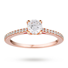 Canadian Ice Collection Brilliant Cut 0.61 Total Weight Solitaire and Diamond Set Shoulders Ring in 18 Carat Rose Gold