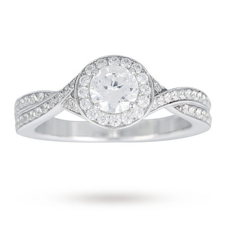 Canadian Ice Collection Brilliant Cut 0.90 Total Carat Weight Solitaire And Diamond Set Shoulders Ring In 18 Carat White Gold