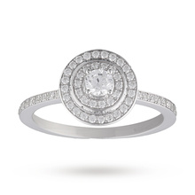 Canadian Ice Brilliant Cut 0.50 Total Carat Weight Diamond Halo Ring With Diamond Set Shoulders in 18 Carat White Gold