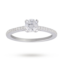 Canadian Ice Collection Brilliant Cut 0.61 Total Weight Solitaire and Diamond Set Shoulders Ring in 18 Carat White Gold