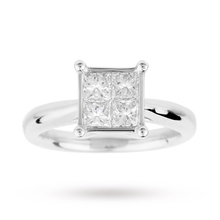 Princess Cut 1.00 Carat Total Weight Invisible Set Diamond Ring Set in 18 Carat White Gold
