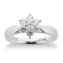 Brilliant Cut 0.50ct Total Weight Diamond Cluster Ring In 18ct White Gold
