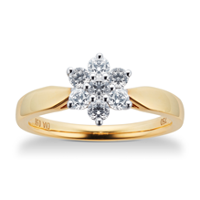 Brilliant Cut 0.50ct Total Weight Diamond Cluster Ring In 18ct Yellow Gold