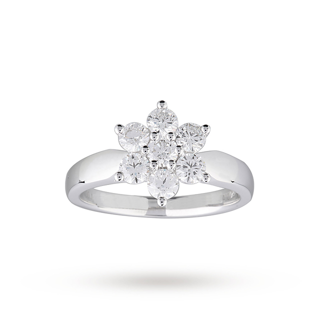 Brilliant Cut 1.00ct Total Weight Diamond Cluster Ring In 18ct White Gold