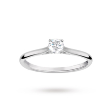Brilliant Cut 0.33 Carat 4 Claw Diamond Solitaire Ring in 18 Carat White Gold