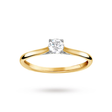 Brilliant Cut 0.25 Carat 4 Claw Diamond Solitaire Ring in 18 Carat Yellow Gold
