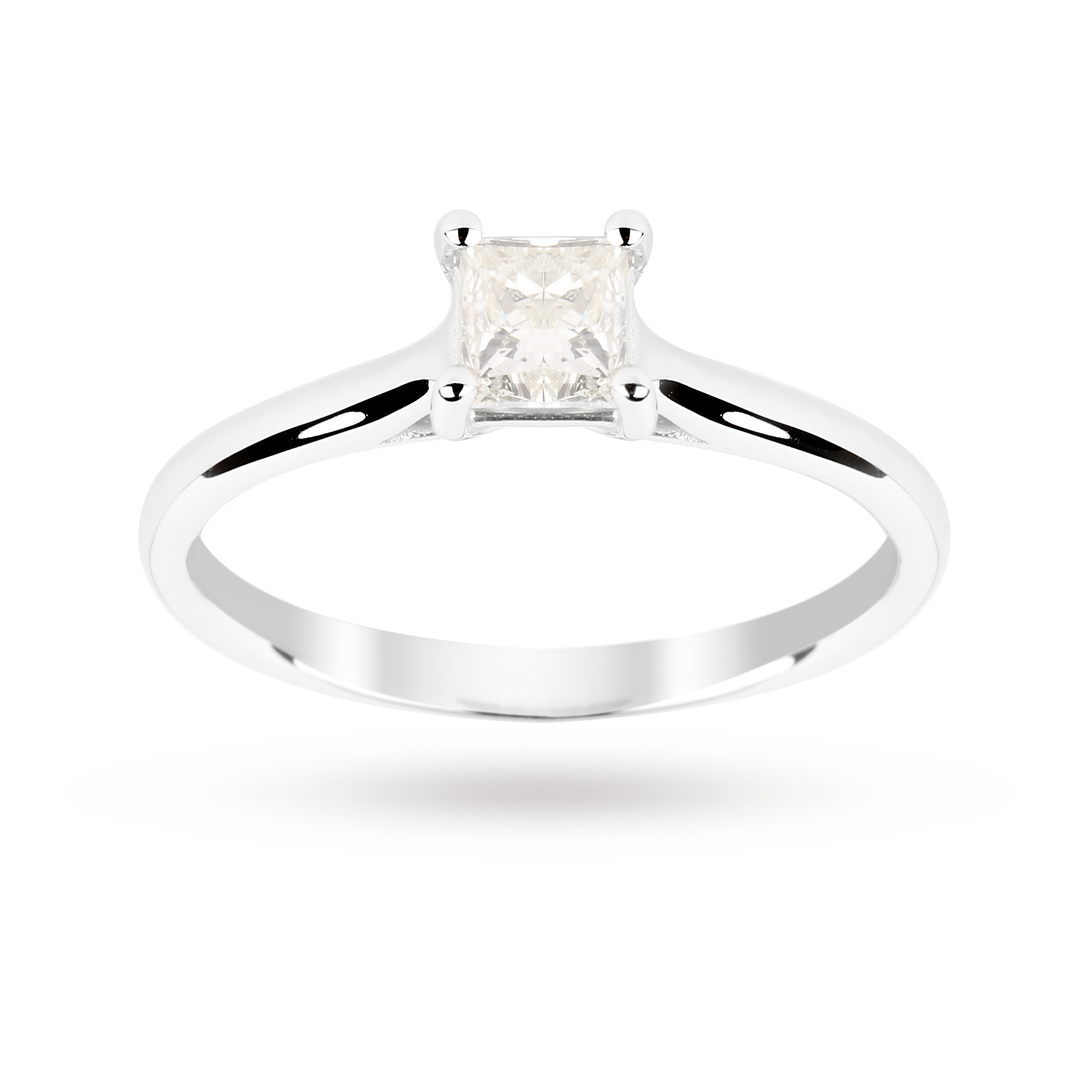 Princess Cut 0.50 Carat 4 Claw Diamond  Solitaire Ring in 18 Carat White Gold