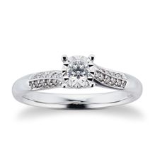 9 Carat White Gold 0.25 Carat Diamond Twist Engagement Ring