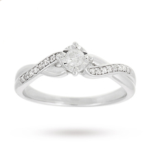 9 Carat White Gold 0.18 Carat Diamond Crossover Engagement Ring