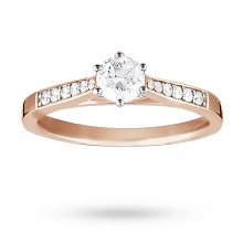 18 Carat Rose Gold 0.33 Carat Diamond Engagement Ring
