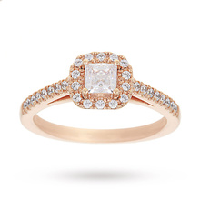 18 Carat Rose Gold 0.65 Carat Princess Cut Diamond Halo Engagement Ring