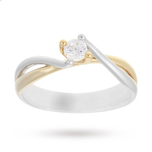 18 Carat White and Yellow Gold  0.20 Carat Diamond Engagement Ring