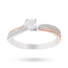 18 Carat White and Rose Gold 0.38 Carat Engagement Ring