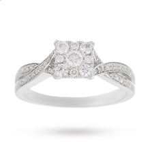 18 Carat White Gold 0.50 Carat Princess Cluster Engagement Ring