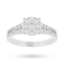 18 Carat White Gold 0.65 Carat Diamond Round Cluster Engagement Ring