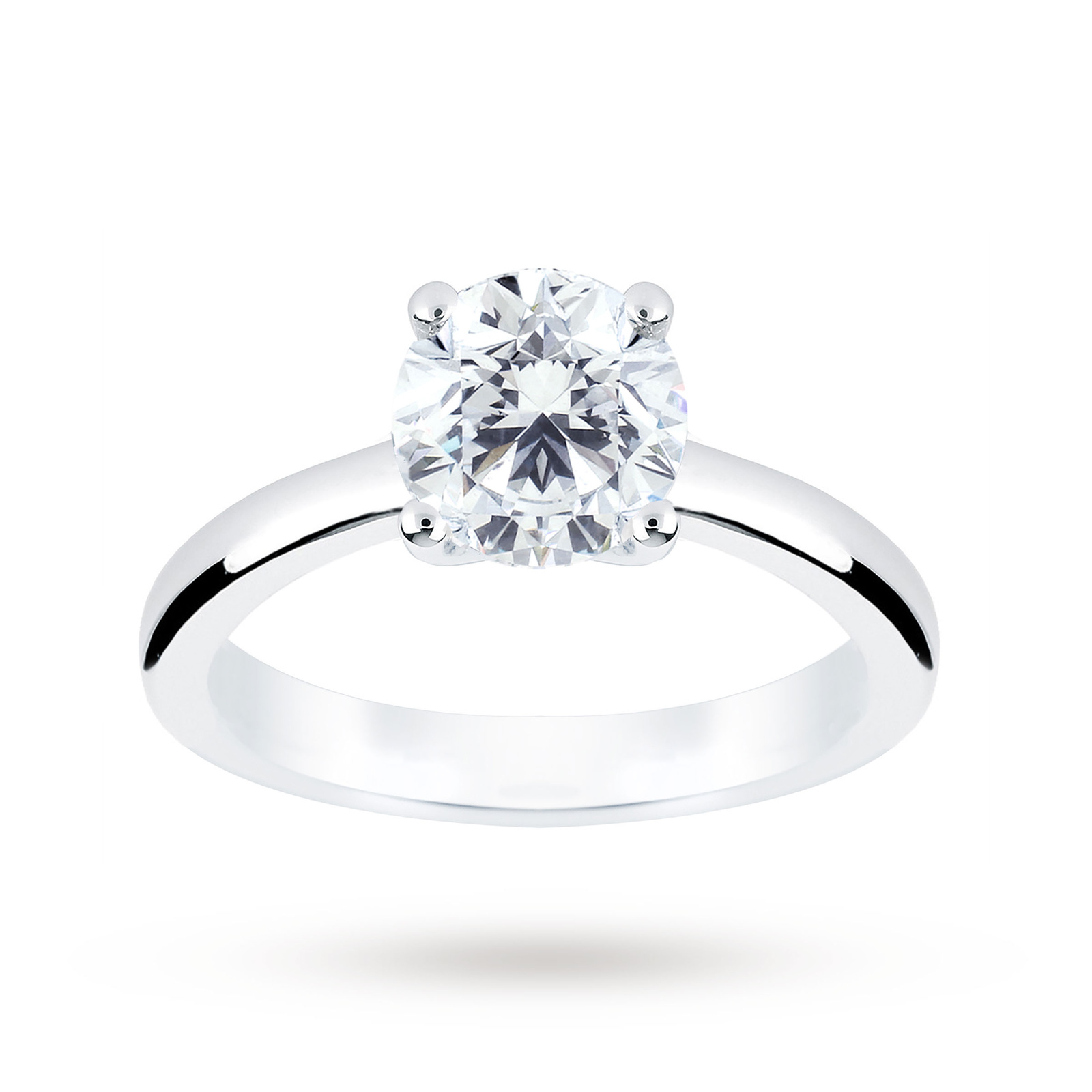 Platinum 1.50 Carat Diamond Solitaire Ring - Ring Size J