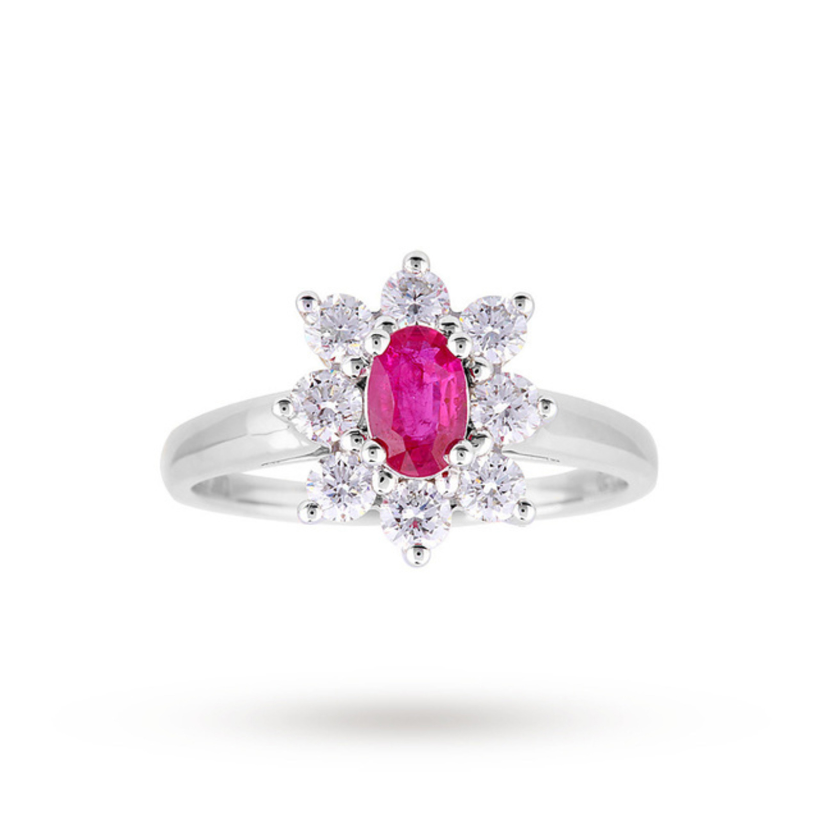 Ruby And Diamond Cluster Ring In Platinum