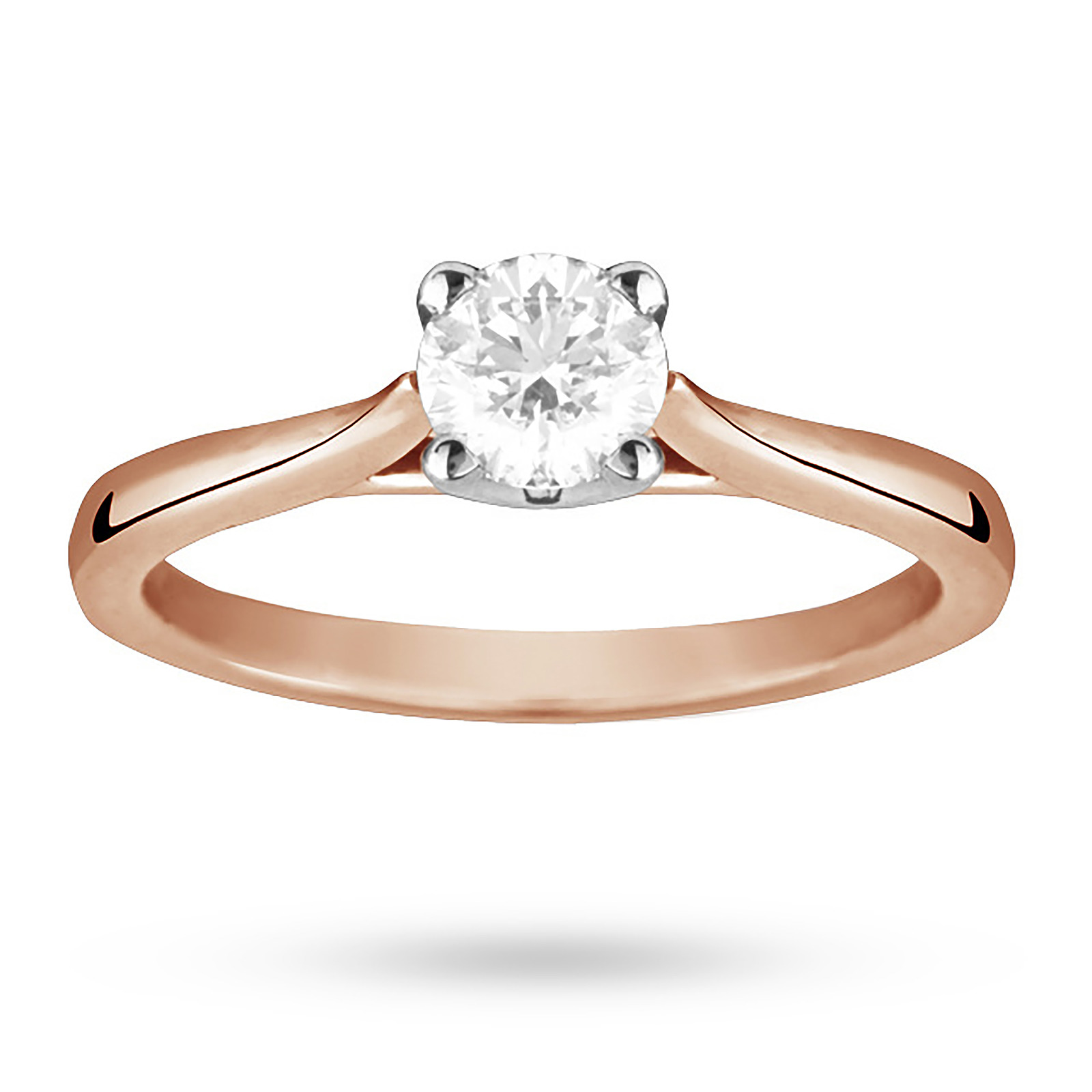 Solitaire Brilliant Cut 0.50 Carat Diamond Ring Set In 18 Carat Rose Gold