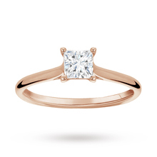 Princess Cut 0.50 Carat 4 Claw Diamond Solitaire Ring in 18 Carat Rose Gold