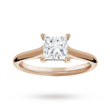 Princess Cut 1.00 Carat 4 Claw Diamond Solitaire Ring in 18 Carat Rose Gold