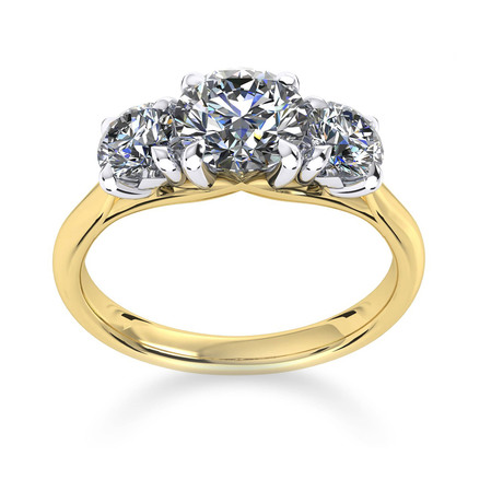 Ena Harkness Three Stone 18ct Yellow Gold 1.60cttw Diamond Engagement Ring