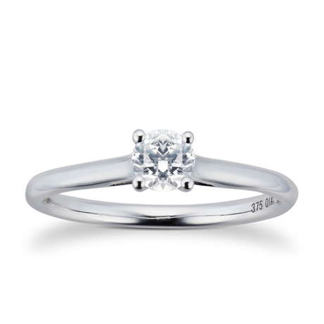 Brilliant Cut 0.33ct 4 Claw Diamond Solitaire Ring In 9ct White Gold