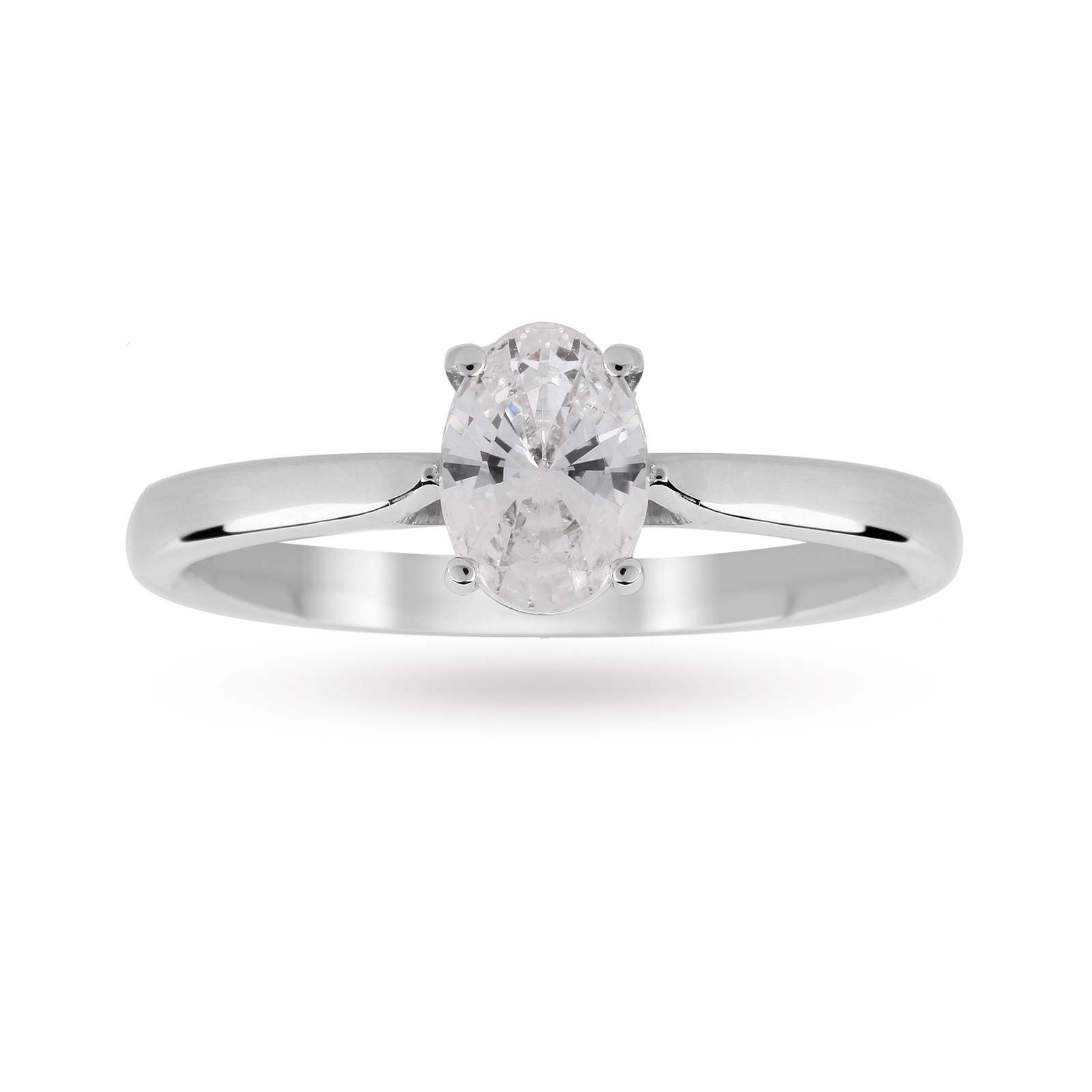 Platinum 0.50ct Diamond Oval Cut D Colour Ring