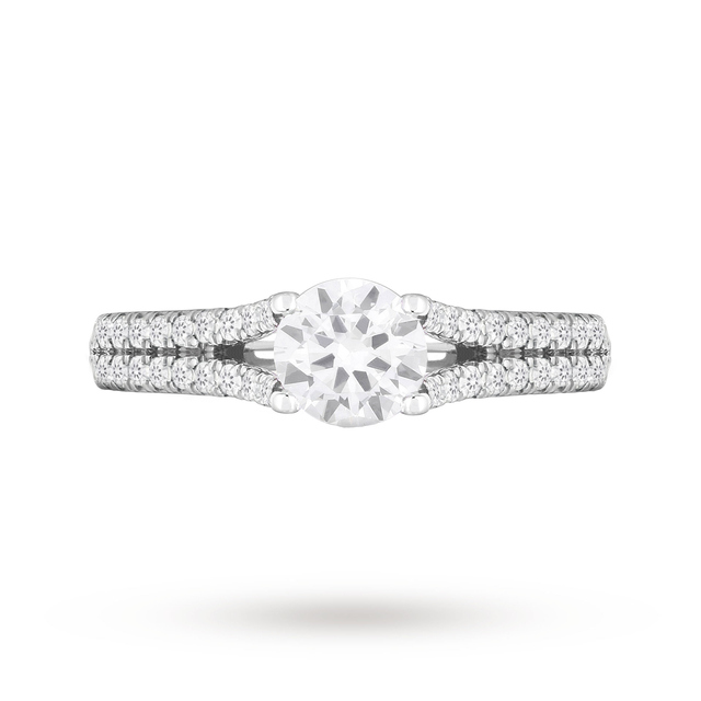 18ct White Gold 1.00ct Diamond Ring with Diamond Set Shoulders