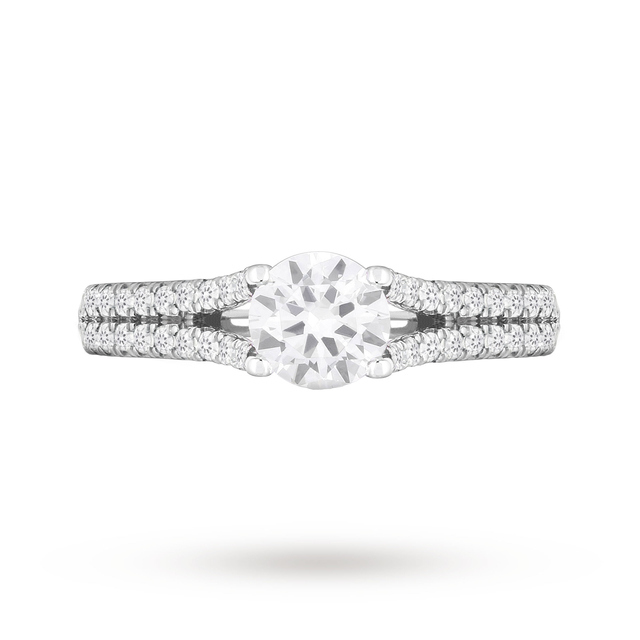 18ct White Gold 0.50ct Diamond Ring with Diamond Set Shoulders
