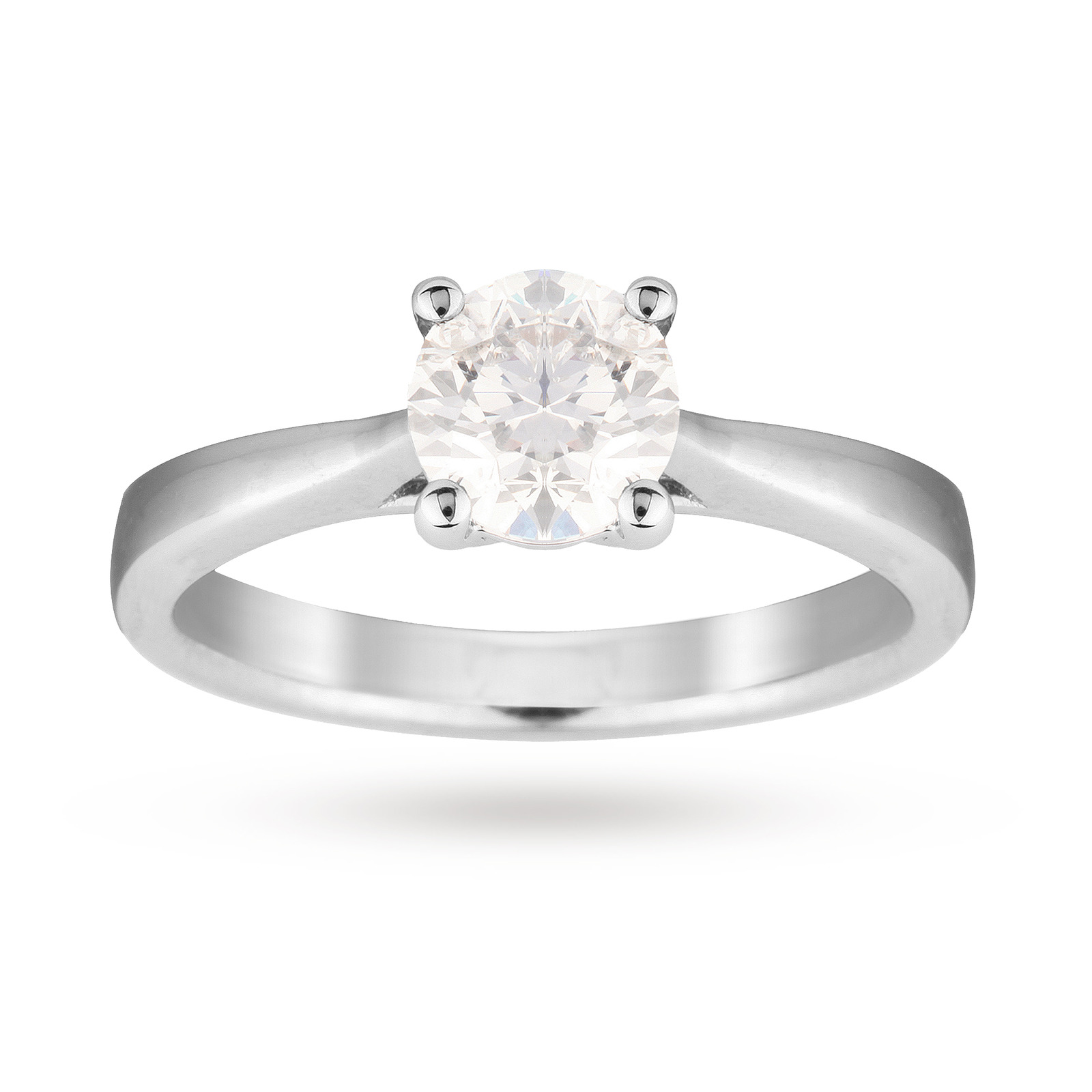 18ct White Gold 1.00 Carat Solitaire Ring - Ring Size J
