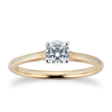 Brilliant Cut 0.50ct 4 Claw Diamond Solitaire Ring In 9ct Yellow Gold