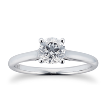 Brilliant Cut 0.70ct 4 Claw Diamond Solitaire Ring In 9ct White Gold
